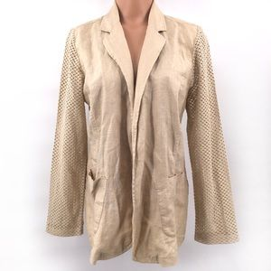Chico's 100% Linen Blazer Jacket Lace Arms & Back